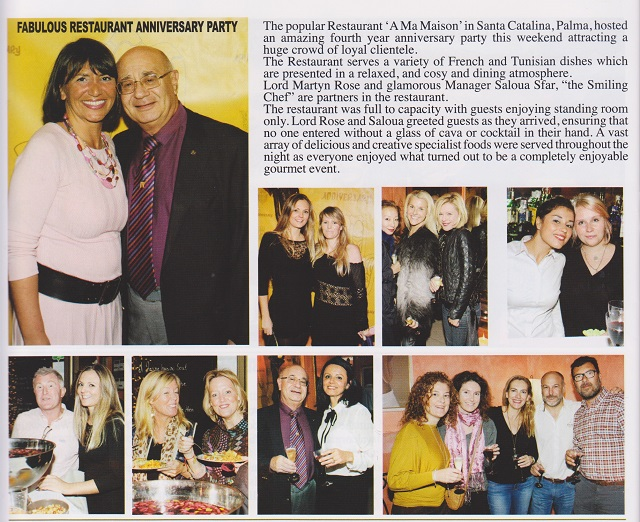 Restaurant A ma Maison Anniversary Article in Celebrity Magazine Mallorca