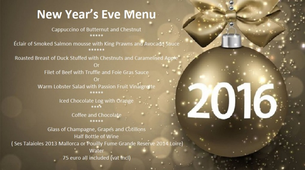 Restaurant A ma Maison Mallorca New Years Eve Menu 2015 2016