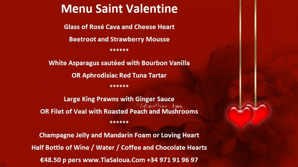 Restaurant A ma Maison 2016 Valentines Day Evening Menu Palma Mallorca