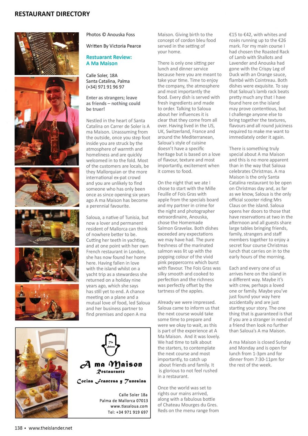 A ma Maison review published in The Islander Magazine Interview by Victoria Pearce